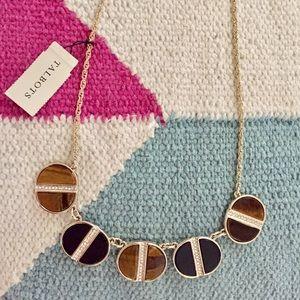 Talbots tigers eye gem gold chain necklace NWT